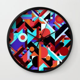 CRAZY CHAOS ABSTRACT GEOMETRIC SHAPES PATTERN (ORANGE RED WHITE BLACK BLUES) Wall Clock