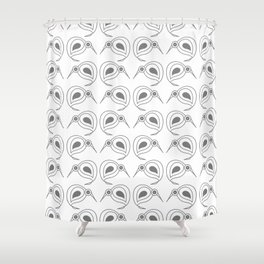 Kiwis in repeating grey pattern by NZ designer Shower Curtain