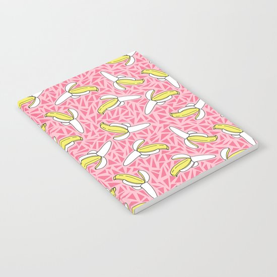 Low Down - banana memphis retro throwback vintage geometric neon pop art fruit summer spring  Notebook