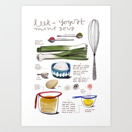 illustrated recipes: leek and yogurt soup Art Print