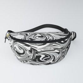 Onyx Black and White Paint Swirls Fanny Pack