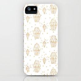 Elegant white gold faux glitter polka dots diamond pattern iPhone Case