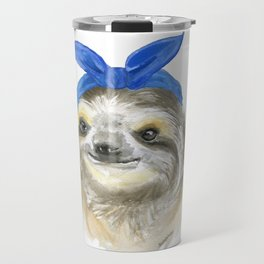 Sloth with a Blue Scarf Watercolor Travel Mug
