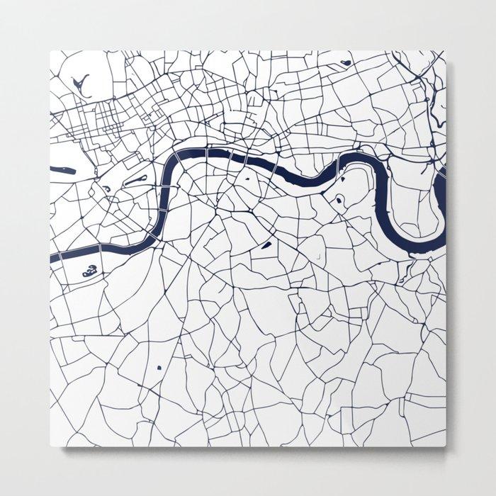 London White on Navy Street Map Metal Print