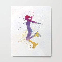 Woman in roller skates 03 in watercolor Metal Print