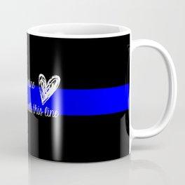 LEO Wife Thin Blue Line - Because he's mine I walk this line Coffee Mug