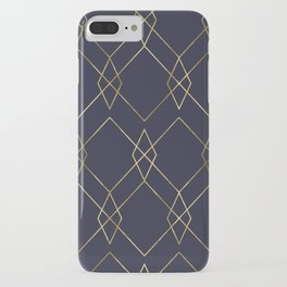 Gold Geometric Navy Blue iPhone Case