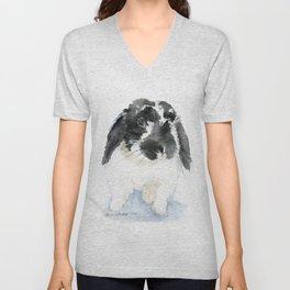 Black and White Bunny Rabbit Watercolor Unisex V-Neck