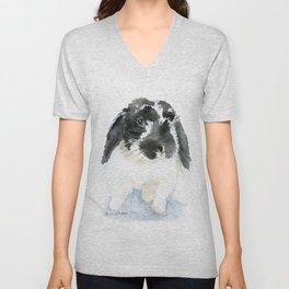 Black and White Bunny Rabbit Watercolor Unisex V-Neck