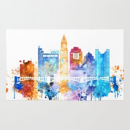 Columbus city watercolor Rug