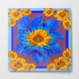 Decorative Yellow Sunflowers Blue Patterned Art Metal Print