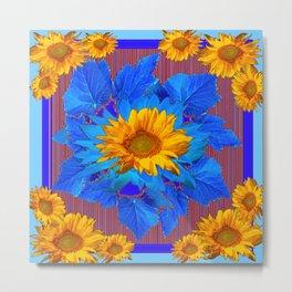 Decorative Yellow Sunflowers Blue Patterned Art Metal Print