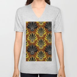ART DECO YELLOW BLACK COFFEE BROWN AGAVE ABSTRACT Unisex V-Neck