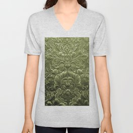 Celery Tooled Leather Unisex V-Neck
