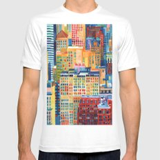 New York buildings Mens Fitted Tee MEDIUM White