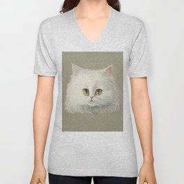 My White Cat's Face Unisex V-Neck