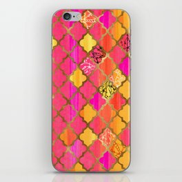 Moroccan Tile Pattern In Pink, Red, Orange, And Gold iPhone Skin