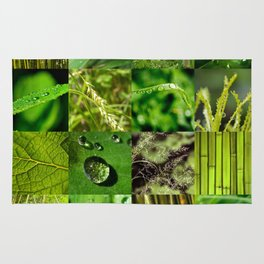 Green Leaf & Tree Nature Collage Rug