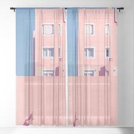 Sunny House And Blue Sky Sheer Curtain