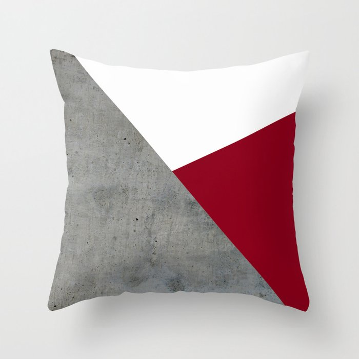 Concrete Burgundy Red White Throw Pillow By Byjwp Society6