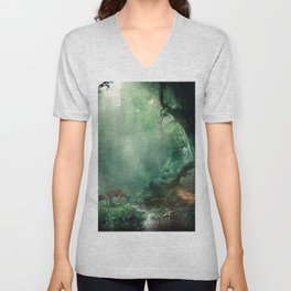 Gorgeous Gracious Deer Mother And Kid Grazing In Magical Forest Clearing Ultra HD Unisex V-Neck