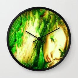 Fairy feather head dress fairy goddess green feathers ,WOOD NYMPH Wall Clock