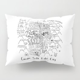 Salt Lake City Illustrated Map Pillow Sham