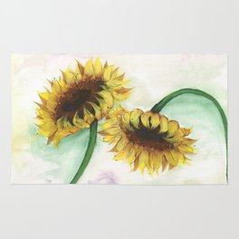 Watercolor Sunflower Rug