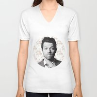 castiel V-neck T-shirts featuring CASTIEL by Hands in the Sky