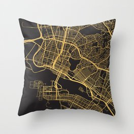 OAKLAND CALIFORNIA GOLD ON BLACK CITY MAP Throw Pillow