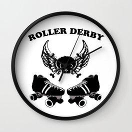 Roller Derby Wings Wall Clock