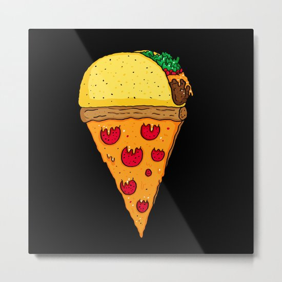 Taco Pizza Cone Metal Print