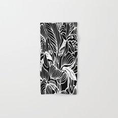 Black White Floral Hand & Bath Towel