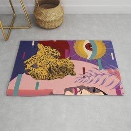 The Big Eye Leopard abstract Rug