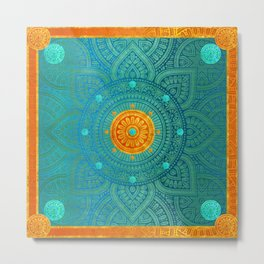 """Turquoise and Gold Mandala"" Metal Print"