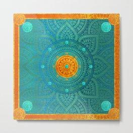 """Turquoise and Gold Mandala"" Metal Print"