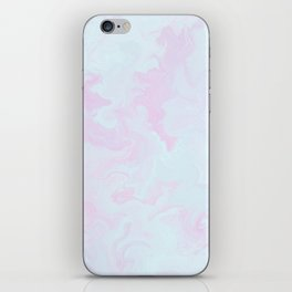 Abstract teal magenta pink watercolor marble pattern iPhone Skin
