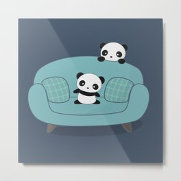 Kawaii Cute Pandas Metal Print