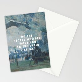 Claude Monet, Arrival of the Normandy Train, Gare Saint-Lazare (1877) / Halsey, Gasoline (2015) Stationery Cards