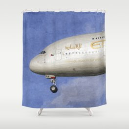 Etihad Airlines Airbus A380 Art Shower Curtain