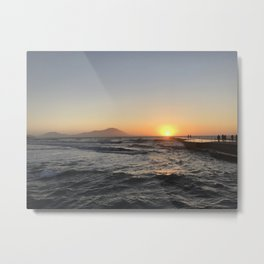 Wild Waves and Sunset in Torregaveta Metal Print