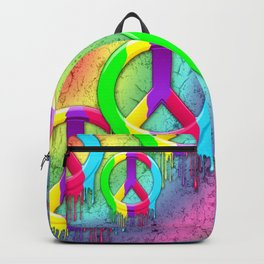 Peace Symbol Dripping Rainbow Paint Backpack
