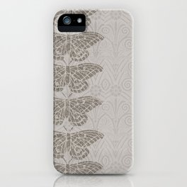 Insectology:  Butterfly Grey Botanical Stencil Print iPhone Case