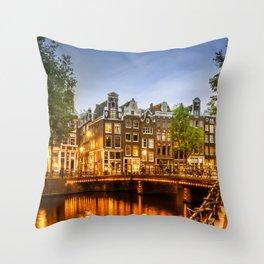 AMSTERDAM Idyllic impression from Singel Throw Pillow