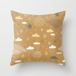 abstract scales, rain, sky clouds stars, simple Nature doodle lines scandinavian style Nursery decor Throw Pillow