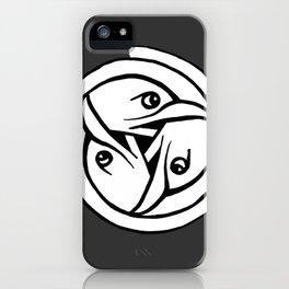 Celtic Art - Bird Head Triskele - on Grey iPhone Case