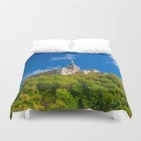 downton abbey Duvet Covers featuring Mont Saint-Michel Abbey by Nicolas Raymond