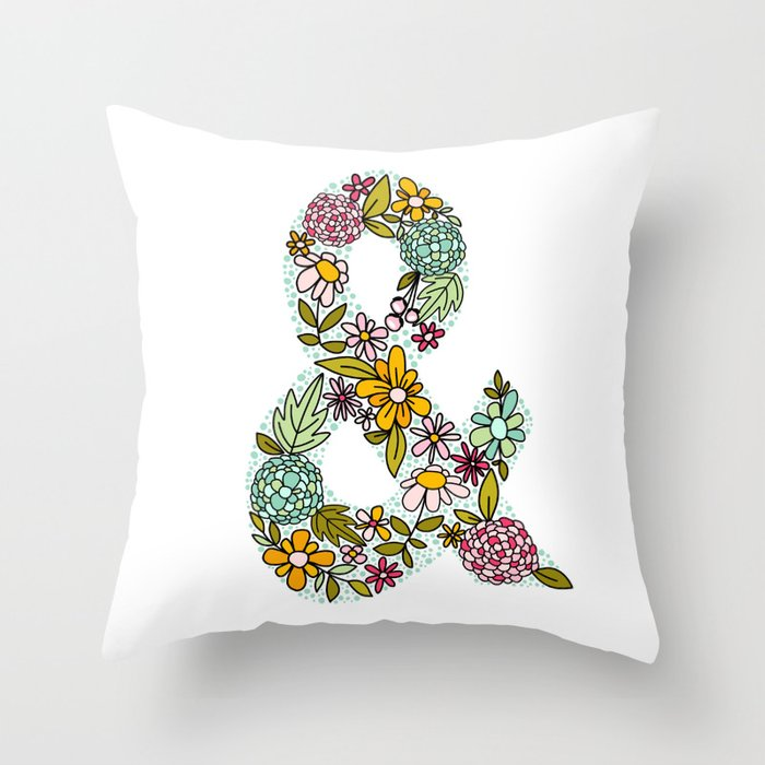 Floral Ampersand Throw Pillow