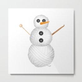 Yarn Snowman Metal Print