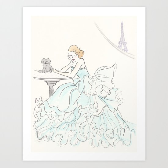 Glam Gorgeous Gowned Girl with Eiffel Tower View and Paris Pets Art Print